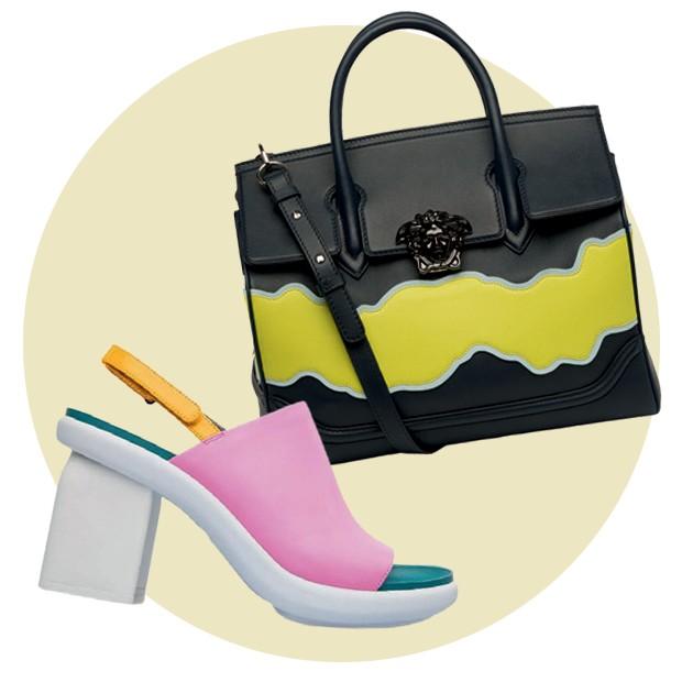 Sapato Camper R$ 620 e bolsa Versace R$ 16.180 (Foto: Fred Othero e Divulgação   )