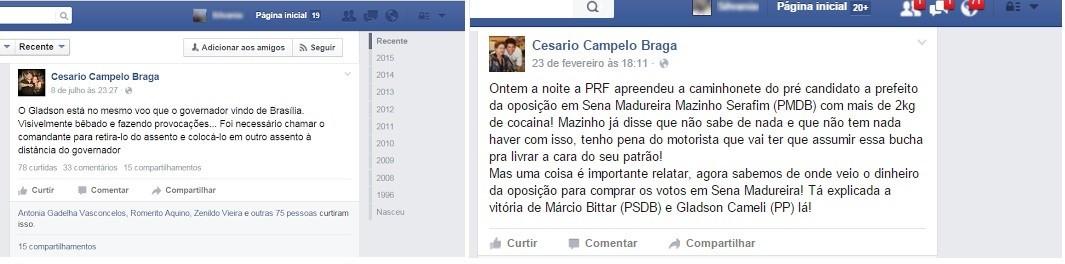 Em postagens, militante do PT faz acusações contra senador Gladson Cameli (Foto: Reprodução/Facebook)