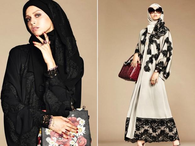 Coleção da grife italiana Dolce   Gabbana inspirada nas mulheres muçulmanas,  com vestidos longos e e24eea443e