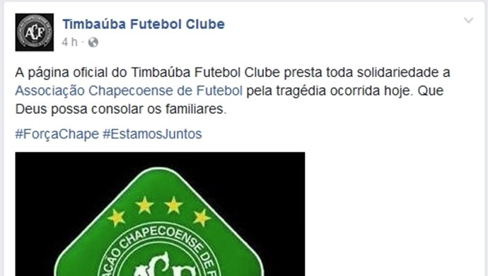 Timbaúba, Facebook, Chapecoense  (Foto: Reprodução/ Facebook)