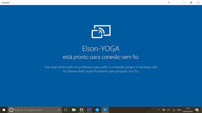 App Conectar do Windows 10 procurará por telefone Android para fazer transmissão sem fio (Foto: Reprodução/Elson de Souza)