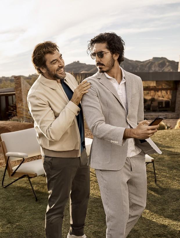 Javier Bardem e Dev Patel na campanha da Ermenegildo Zegna (Foto: Divulgação)