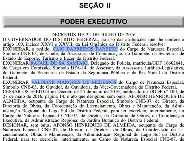 Trecho do Diário Oficial do DF que mostra exoneração dos três servidores em repercussão aos áudios gravados pela sindicalista Marli Rodrigues (Foto: Reprodução)
