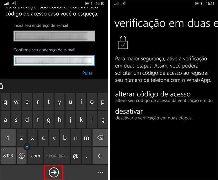 WhatsApp para Windows Phone permite que usuário cadastre e-mail para recuperar acesso (Foto: Reprodução/Elson de Souza)