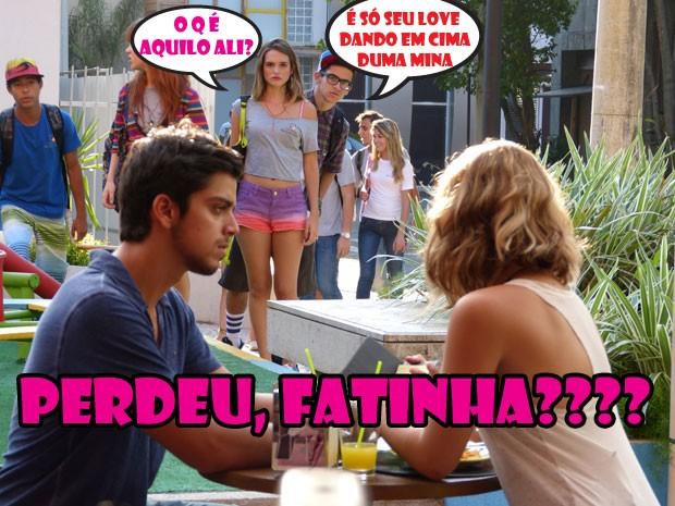 VISH! É isso mesmo??? Bruno tá chifrando a Fatinha! Orelha não perdoou kkkk (Foto: Malhação / Tv Globo)