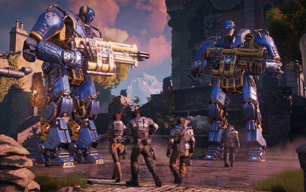 'Gears of War 4' tem história mais íntima e familiar, mas também traz alguns dos melhores momentos de ação da série. Como a cena em que você comanda essas duas belezinhas aí de cima (Foto: Divulgação/Microsoft)