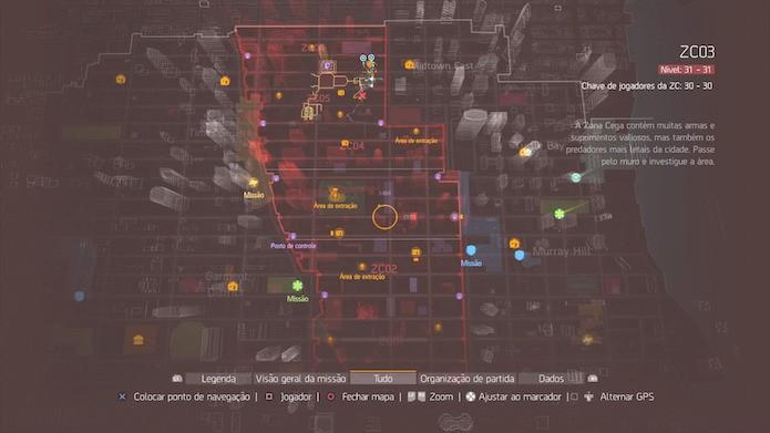 The Division: área contornada em vermelho representa a Zona Cega (Foto: Reprodução/Victor Teixeira)
