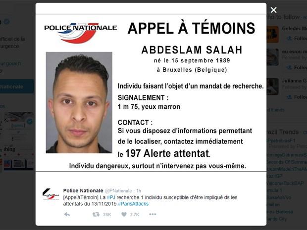 Abdeslam Salah, de 26 anos, é procurado pela polícia. (Foto: Reprodução/Twitter da polícia francesa)