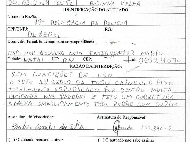 Auto de Interdição foi expedido na manhã desta segunda (24) pelo Departamento de Defesa Civil de Natal (Foto: Reprodução/Inter TV Cabugi)