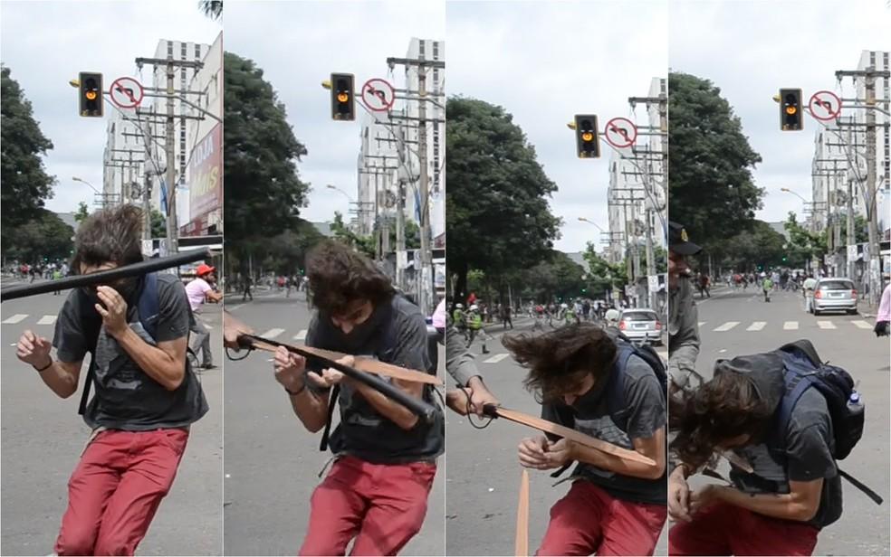 Sequência de fotos mostra que cassetete de PM quebrou durante agressão a estudante (Foto: Arquivo pessoal/Luiz da Luz)
