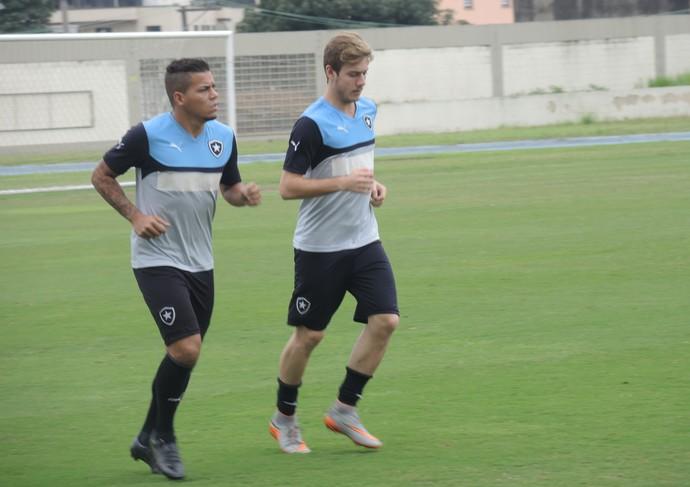 Carleto e Luis Henrique treino Botafogo (Foto: Marcelo Baltar)