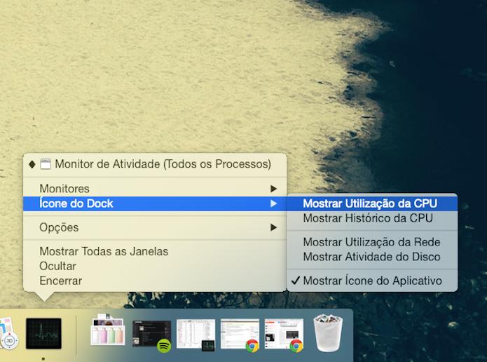 Configurando o Monitor de Atividades para mostrar um gráfico da utilização da CPU no dock do Mac OS X (Foto: Reprodução/Marvin Costa)