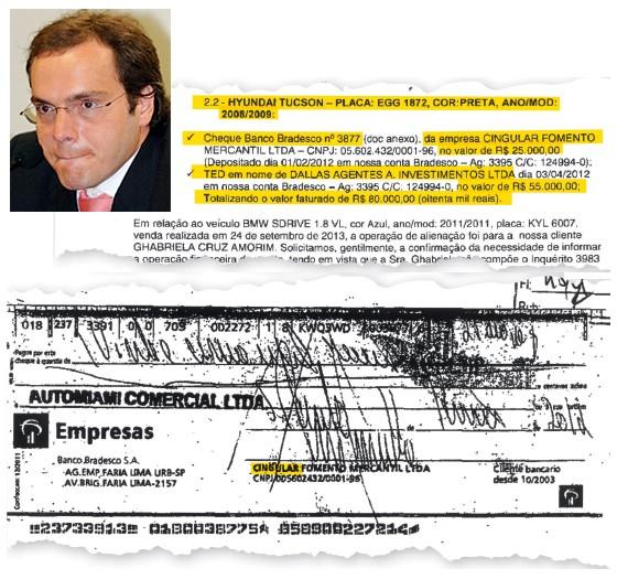 O PARCEIRO Um dos cheques da Cingular (acima) e o operador Lúcio Funaro (no detalhe). Além dos carros, ele já pagou o aluguel de Eduardo Cunha (Foto: José Varella/CB/D.A Press)