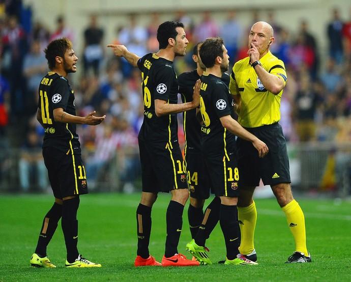 Neymar, Busquets e Jordi Alba Barcelona x Atletico de Madrid (Foto: Getty Images)