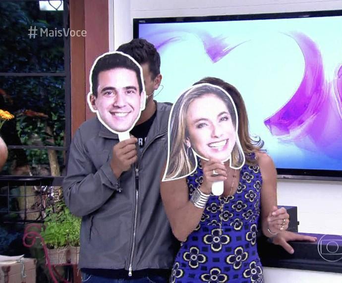 André Marques e Cissa Guimarães mostram a cozinha do BBB16 (Foto: TV Globo)