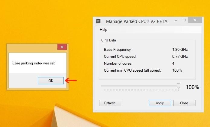 Janela de êxito da nova configuração parking da CPU (Foto: Reprodução/Raquel Freire)
