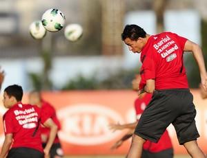 Leandro Damião treina no CT do Palmeiras (Foto: Alexandre Lops / Inter, DVG)