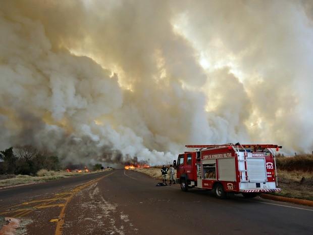 Bombeiros tentam controlar o fogo.  (Foto: Cido Costa / Dourados Agora)