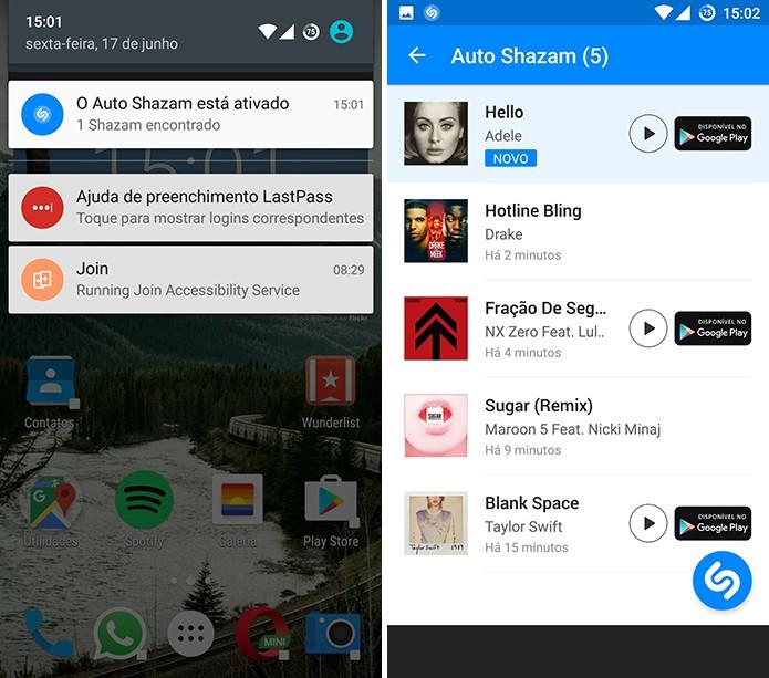 Shazam para Android continua procurando músicas e adicionando à playlist (Foto: Reprodução/Elson de Souza)