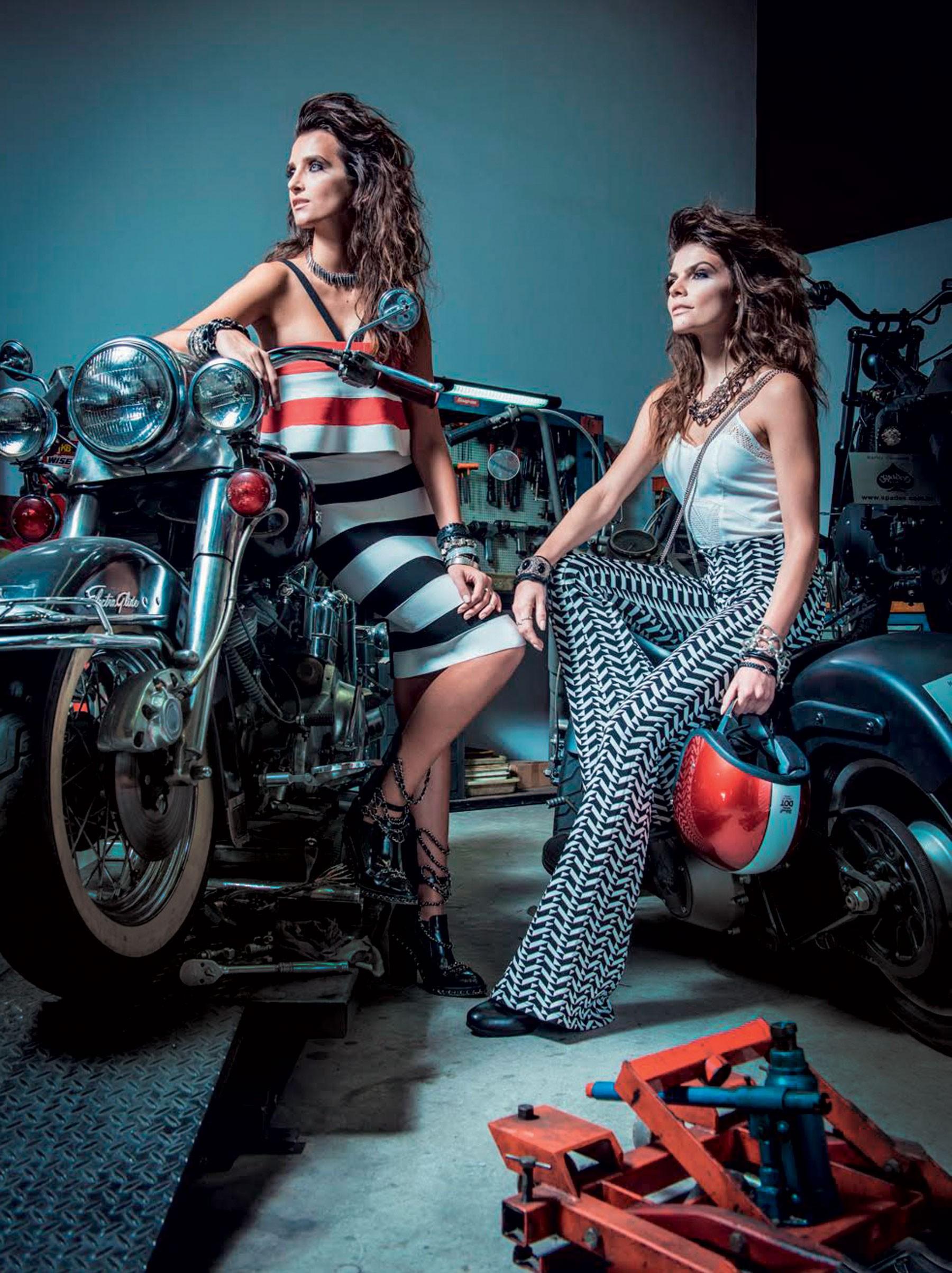 A partir da esquerda, top (R$ 99), calça (R$ 299); e vestido (R$ 329), tudo Lolitta para C&A. Styling: Patricia Tremblais (Foto: Reprodução/Vogue Brasil)
