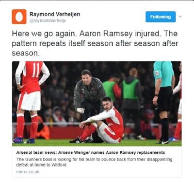 Raymond Verheijen twitter Arsène Wenger (Foto: Reprodução/Twitter)