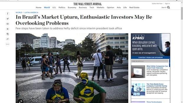 Investidores entusiasmados com Brasil pós-Dilma podem estar minimizando problemas, afirma Wall Street Journal (Foto: Reprodução)