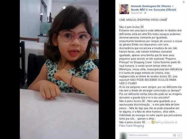 Jovem escreveu post criticando a atitude do cinema em Sorocaba (Foto: Reprodução/Facebook)