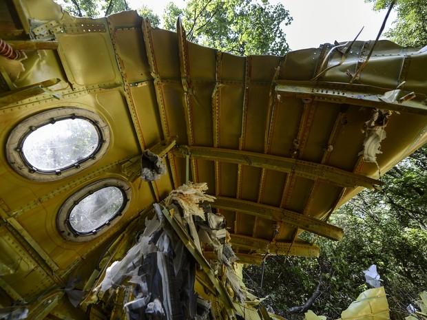 Imagem mostra destroço de voo MH17 perto da aldeia de Hrabove (Grabovo), alguns 80 km a leste de Donetsk. (Foto: Bulent Kilic/AFP)