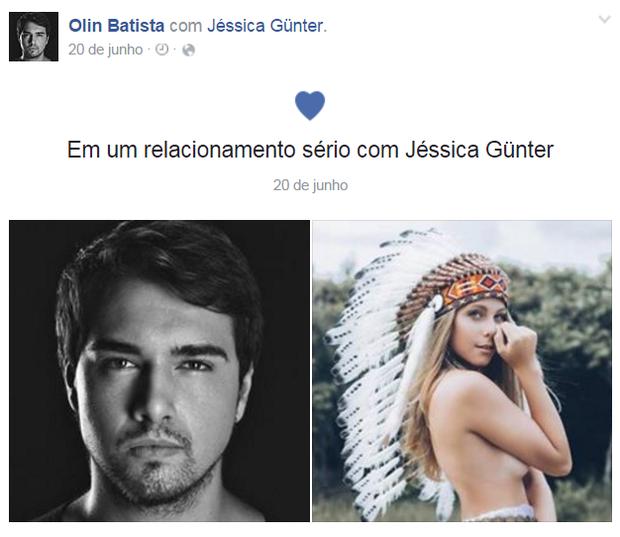 Olin Batista anunca volta de namoro com Jéssica Günter em seu perfil no Facebook (Foto: Reprodução)