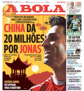 Jornal A Bola noticia proposta chinesa por Jonas (Foto: Reprodução / A Bola)