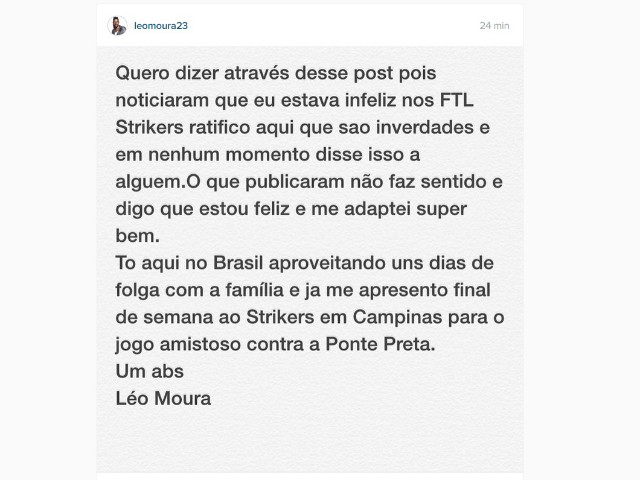 Instagram Léo Moura se dizendo feliz no Fort Lauderdale Strikers