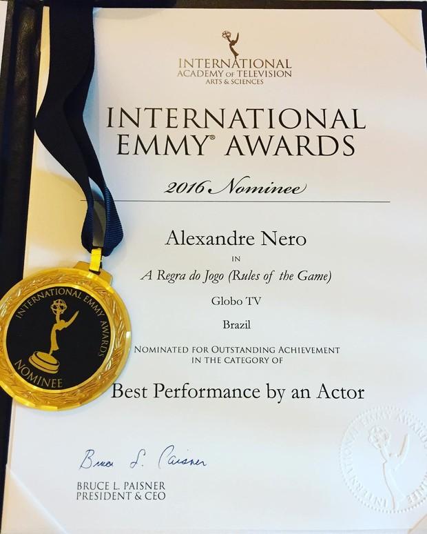 Alexandre Nero no coquetel do Emmy (Foto: Reprodução do Instagram)