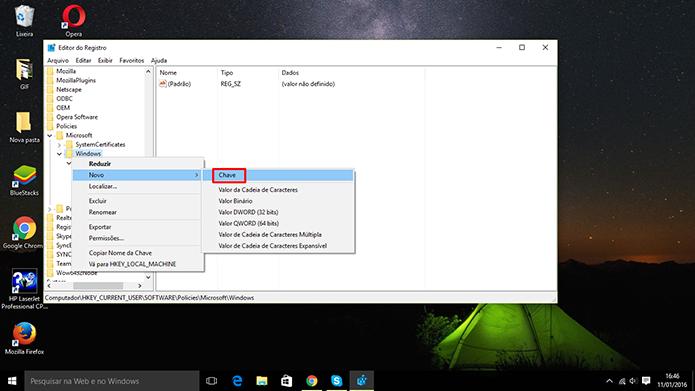 Editor de Registro pode não exibir pasta Explorer, mas usuário pode criá-lo (Foto: Reprodução/Elson de Souza)