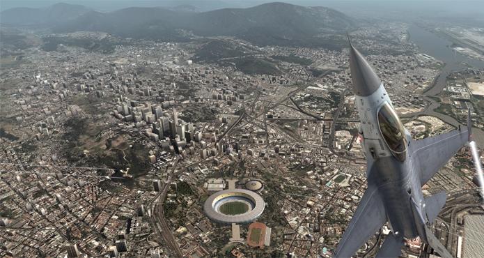 Jogador precisa defender o Rio de Janeiro de uma invasão em H.A.W.X. (Foto: Divulgação/Ubisoft)