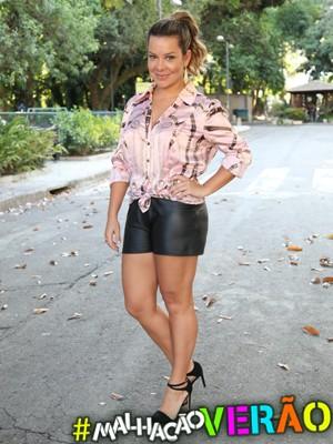 Fernanda malha pesado para manter o corpo em forma (Foto: Carol Caminha / TV Globo)