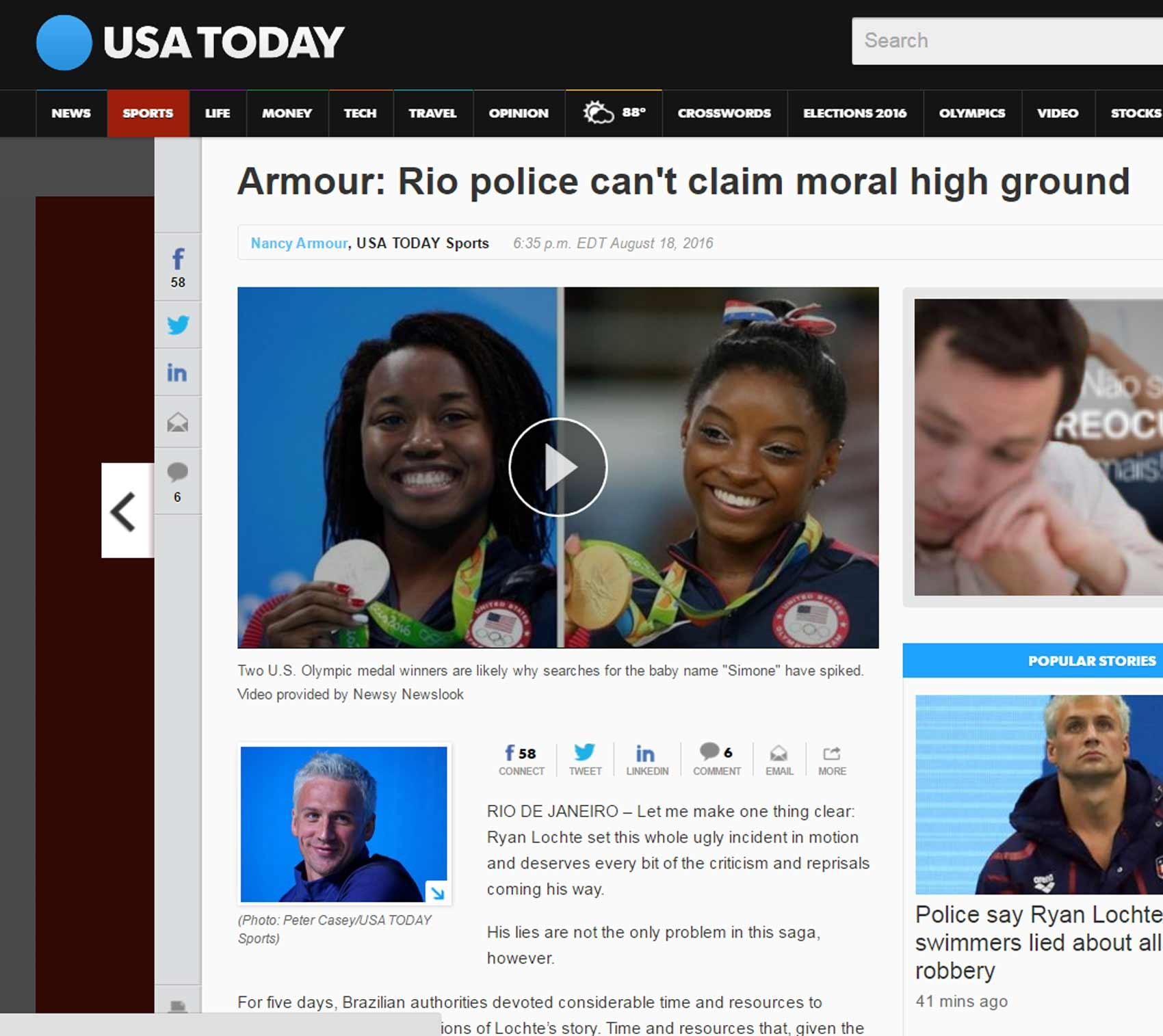 Lochte USA Today