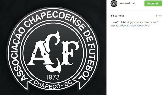 Treze também lamenta a queda do avião da Chapecoense (Foto: Reprodução / Instagram)