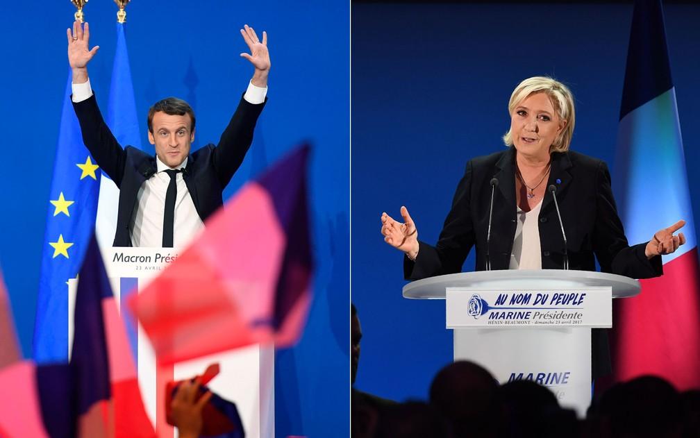 Emmanuel Macron e Marine Le Pen discursam após o término da votação na França (Foto: Eric Feferberg e Alain Jocard/AFP)