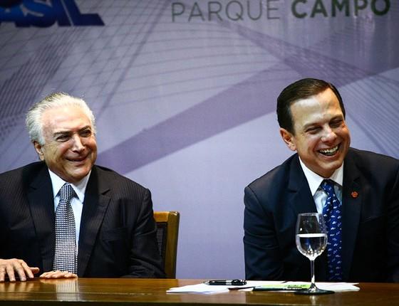 O presidente Michel Temer se encontrou com o prefeito João Doria durante evento em São Paulo (Foto: Aloisio Mauricio/Fotoarena / Agência O Globo)