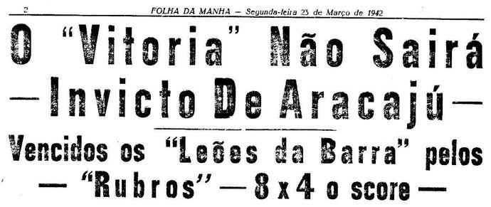 Manchete do jornal quando o Sergipe venceu o Vitória de goleada (Foto: Reprodução)