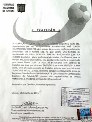 Certidão da FAF - Denílson (Foto: Divulgação / Site CRB)