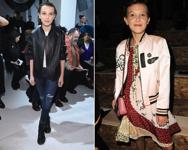 Millie Bobby Brown na primeira fila da Calvin Klein e da Coach (Foto: Getty Images)