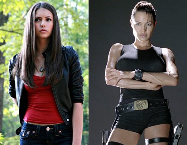 Nina Dobrev em 'The Vampire Diaries' e Angelina Jolie no filme 'Lara Croft: Tomb Raider' (2001) (Foto: Divulgação)