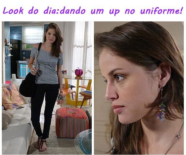Dicas da Ju look do dia 1 uniforme (Foto: TV globo/Malhação)