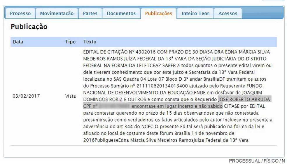 Trecho de publicação que mostra que o ex-governador José Roberto Arruda não foi encontrado por oficiais de Justiça (Foto: Reprodução)