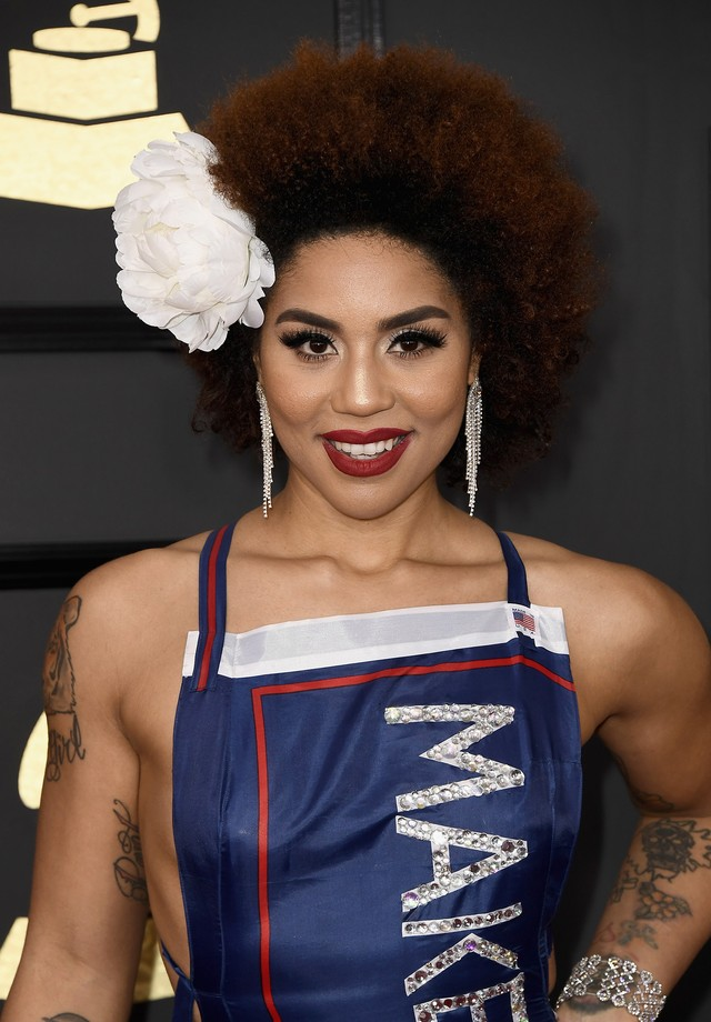 Joy Villa e seu look em apoio a Trump no Grammy (Foto: Getty/ Frazer Harrison)
