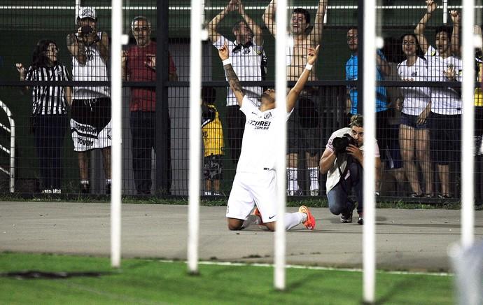 Gabriel comemora gol do Santos contra o Botafogo (Foto: Marcos Ribolli)