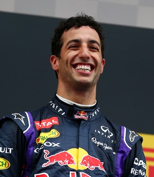 Daniel Ricciardo no pódio do GP da Espanha de 2014 (Foto: Getty Images)