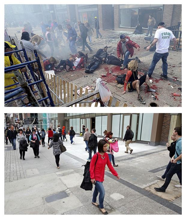 Combinação de fotos de 15 de abril de 2013 e 10 de abril de 2014 mostram a Rua Boylston após a explosão da primeira bomba e quase um ano depois (Foto: MetroWest Daily News, Ken McGagh; and Elise Amendola/AP)