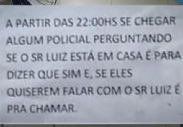 Bilhete deixado pelo ex-senador Luiz Estevão, com orientações caso policiais o procurassem (Foto: TV Globo/Reprodução)
